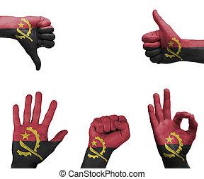 Hand set with the flag of Angola