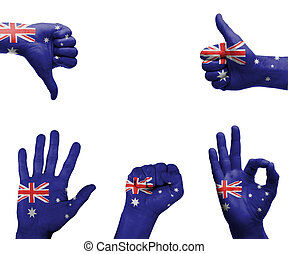 Hand set with the flag of Australia