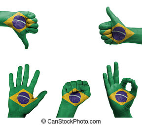 Hand set with the flag of Brazil