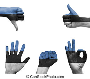 Hand set with the flag of Estonia