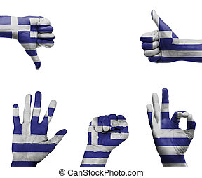 Hand set with the flag of Greece
