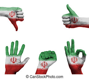 Hand set with the flag of Iran