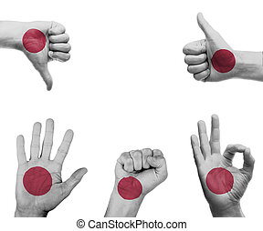 Hand set with the flag of Japan