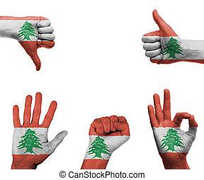 Hand set with the flag of Lebanon
