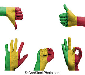 Hand set with the flag of Mali - A set of hands with ...