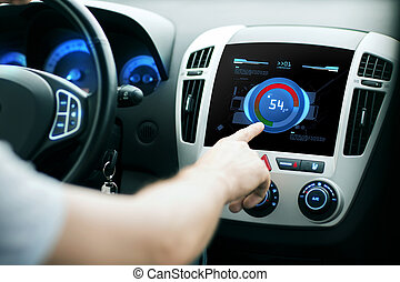 hand setting volume on car audio stereo system - transport,...