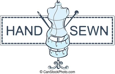 Hand sewing vector