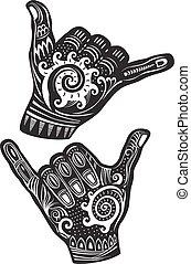 hand, shaka zeichen, brandung