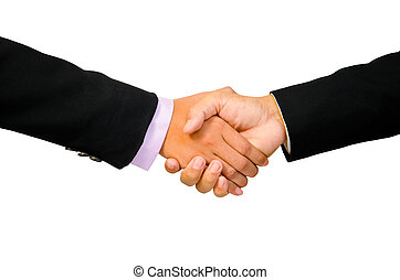 Hand shake between a businessman and a businesswoman isolated on