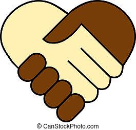 hand shake between black and white man, heart shaped symbol...