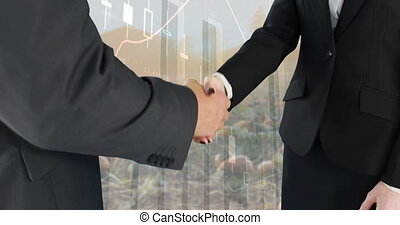 Hand shake between business people 4k