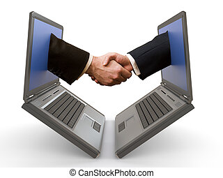hand shake between laptops - handshake emerging from two...