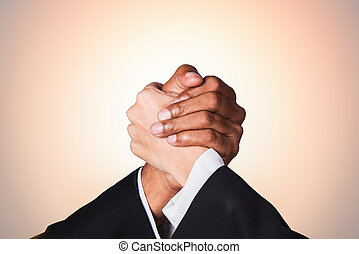 Hand shake businessman and businesswoman with warm power tone