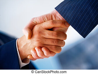 Hand Shake. - Closeup picture of businesspeople shaking...