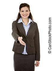 hand shake from business woman - beautiful brunette wearing ...