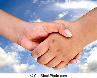 Hand Shake - hand shake with cloud.