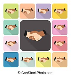 Hand shake Icon color set vector illustration
