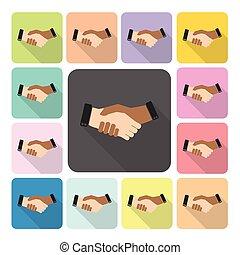 Hand shake Icon color set vector illustration
