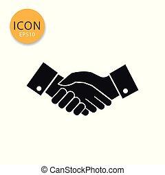 Hand shake icon isolated flat style.