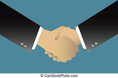 HAND SHAKE - illustration of two businessmen handshaking...
