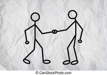 Hand shake - Illustration of two humanoid figures shaking...