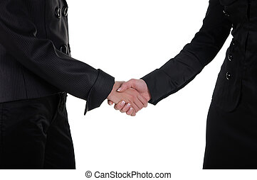 Hand shake of two women