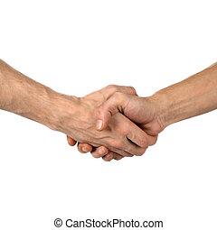 hand shake on white - The man greets hand shake success on...