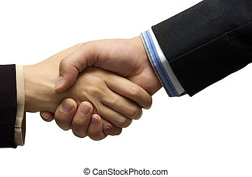 Hand shake - hand shake in front of a white background