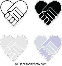 Hand shake sticker vector eps 10