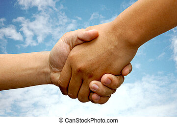 Hand Shake - hand shake with sky
