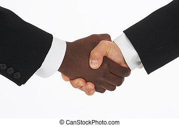 hand-shake - two hands of different color shaking each other