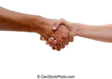 Hand shake between a man and a woman isolated on white