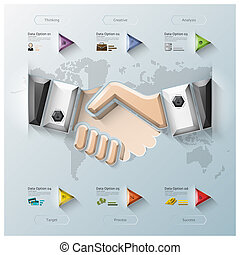 Hand Shake Three Dimension Polygon Business Infographic...