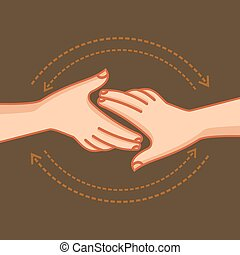 Hand shake, vector illustration.