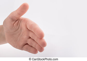 Hand shaking gesture on a white background