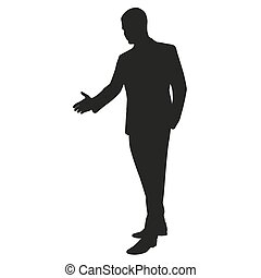 Hand shaking. Vector silhouette