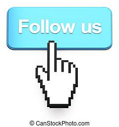 hand-shaped, bottone, ci, cursore, premere, seguire, topo