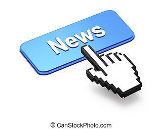 hand-shaped, bottone, cursore, premere, notizie, topo