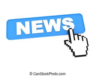 hand-shaped, button., cursore, premere, notizie, topo