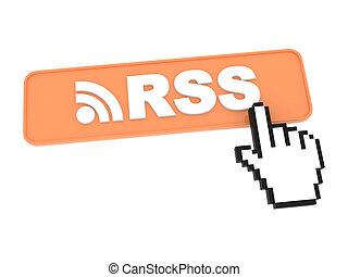 hand-shaped, button., cursore, premere, topo, rss