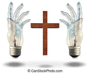 Hand shaped light bulbs frame a cross