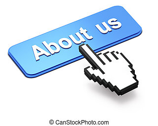 Hand-shaped mouse cursor press About Us button on white ...