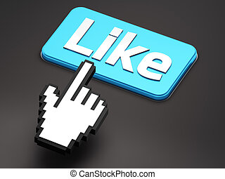 Hand-shaped mouse cursor press Like button on dark...