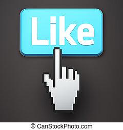 Hand-shaped mouse cursor press Like button