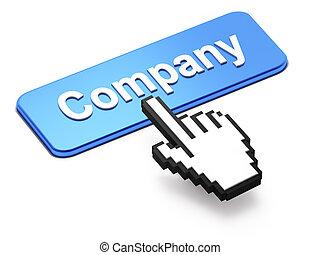hand-shaped, ratón, cursor, prensa, compañía, botón
