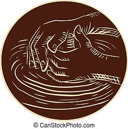 Etching engraving handmade style illustration of a hand shaping pottery clay viewed from the side set inside circle on isolated background.