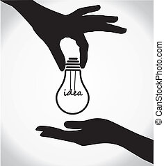 two human hand silhouettes sharing of idea light bulb with idea text at the middle of the bulb - concept design vector illustration
