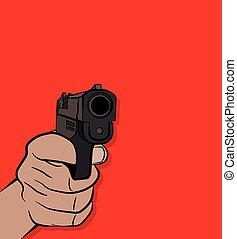 Hand Shooting a Pistol Illustration - A person pulling the ...