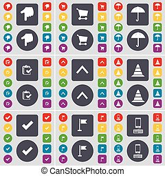 Hand, Shopping cart, Umbrella, Survey, Arrow up, Cone, Tick, Golf hole, Smartphone icon symbol. A large set of flat, colored buttons for your design. Vector