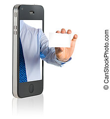 Hand showing a blank business card - business man in a...